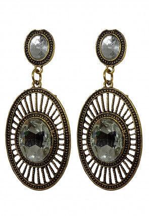 Stone Studded Oxidised Earrings