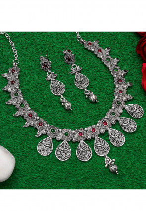 Stone Studded Oxidised Necklace Set