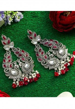 Stone Studded Oxidised Peacock Style Earrings