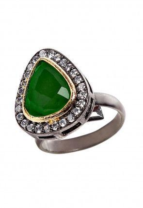 Stone Studded Oxidised Ring