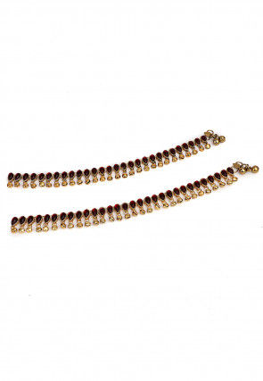Stone Studded  Pair of Adjustable Anklet