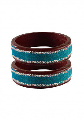 Stone Studded Pair of Lac Bangles