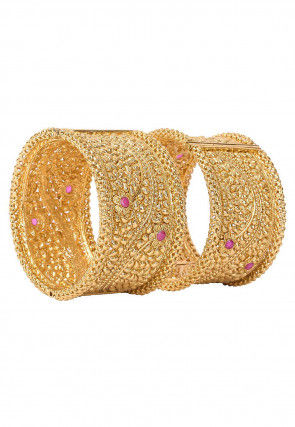 Stone Studded Pair of Openable Bangles