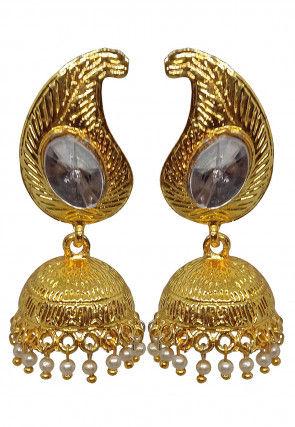 Stone Studded PaisleyJhumka Style Earrings