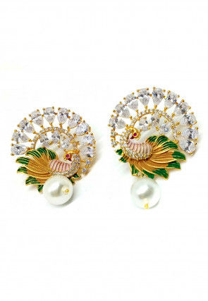 Stone Studded Peacock Style Earrings