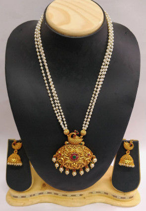 Stone Studded Peacock Style Long Necklace Set