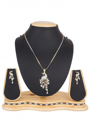Stone Studded Peacock Style Pendant Set