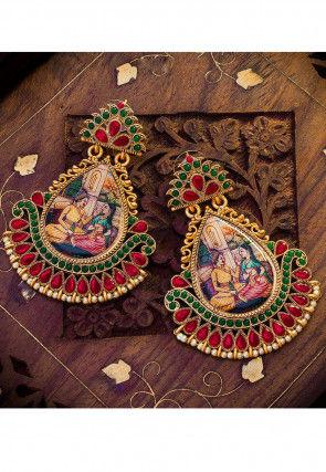 Stone Studded Radha Krishna Earrings
