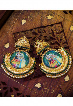Stone Studded Radha Krishna Earrings
