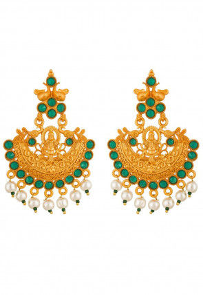Stone Studded Temple Earrings
