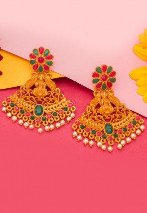 Stone Studded Temple Earrings