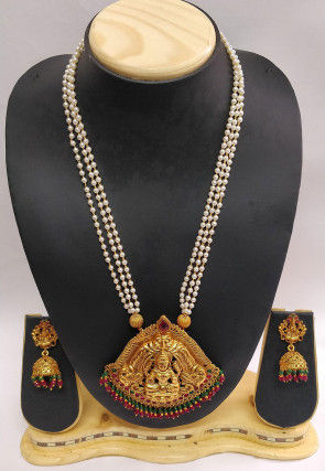 Stone Studded Temple Long Necklace Set