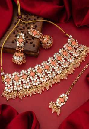 Stones Studded Choker Necklace Set