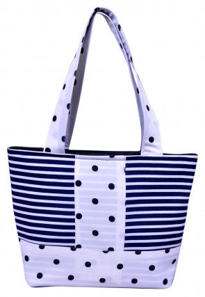 Stripe Printed Art Silk Hand Bag in Blue and White
