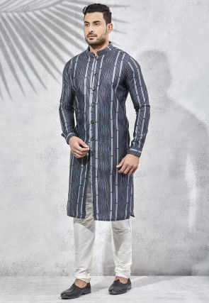 Stripe Printed Art Silk Kurta Set in Black and Blue
