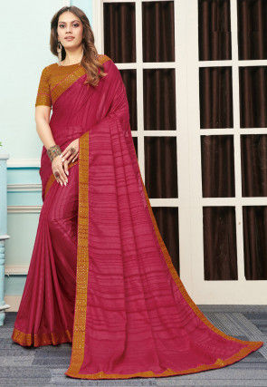 Stripe Printed Art Silk Saree in Pink