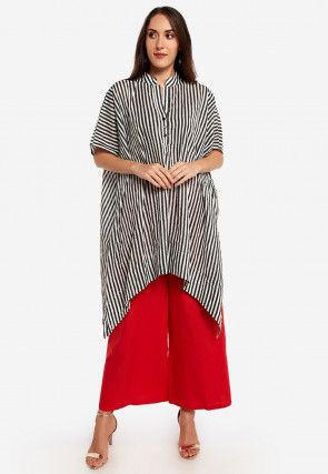 Stripe Printed Cotton Asymmetric Tunic in Black and White