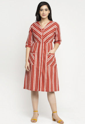 Stripe Printed Cotton Fit N Flare Dress in Red