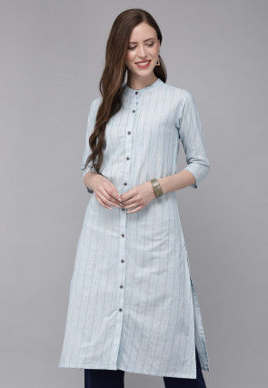 Stripe Printed Cotton Front Open Straight Kurta in Sky Blue