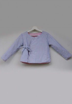 Stripe Printed Cotton Kids Reversible Jacket in Blue and Pink