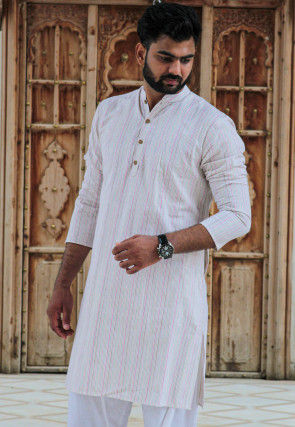 Stripe Printed Cotton Kurta in Off White
