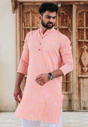 Stripe Printed Cotton Kurta in Peach