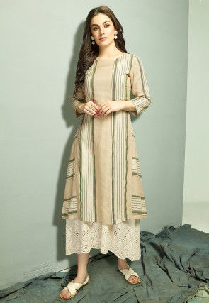 Stripe Printed Cotton Layered Kurta in Light Beige