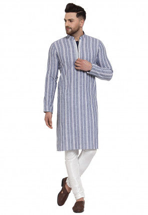 Stripe Printed Cotton Linen Kurta Set in Blue