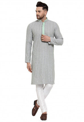 Stripe Printed Cotton Linen Kurta Set in Light Grey