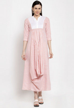 Stripe Printed Cotton Long Kurta in Peach and White