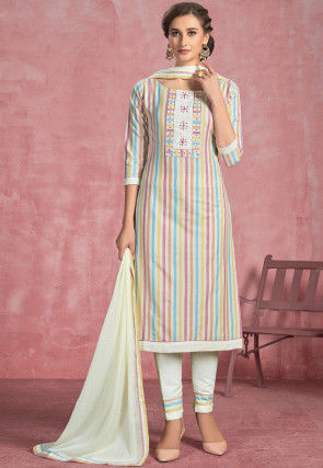 Stripe Printed Cotton Pakistani Suit in Off White and Multicolor