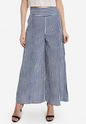Stripe Printed Cotton Palazzo in Navy Blue and White