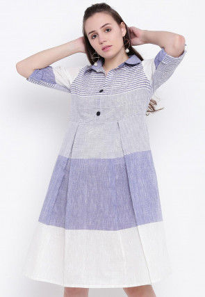 Stripe Printed Cotton Pleated Dress in Blue