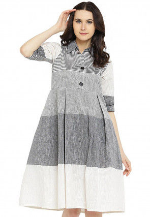 Stripe Printed Cotton Pleated Dress in Grey