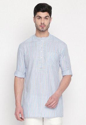 Stripe Printed Cotton Short Kurta in Sky Blue