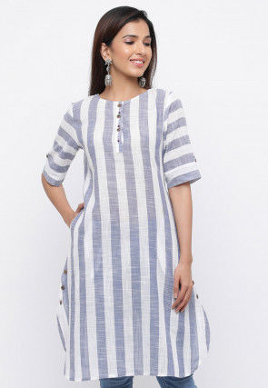 Stripe Printed Cotton Straight Kurta in White and Blue