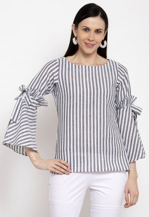 Stripe Printed Cotton Top in Grey and White