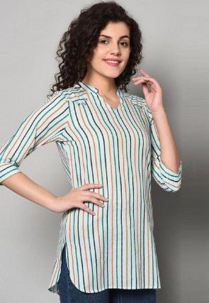 Stripe Printed Cotton Top in Light Blue