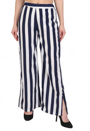 Stripe Printed Crepe Culottes in White and Navy Blue