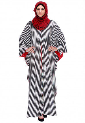 Stripe Printed Crepe Kaftan in Black and White