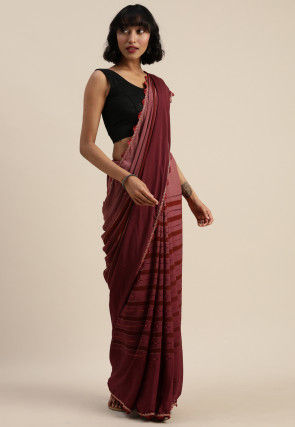 Stripe Printed Crepe Saree in Maroon Ombre