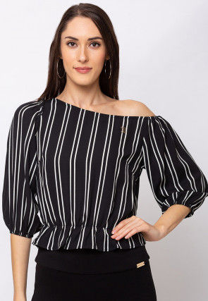 Stripe Printed Crepe Top in Black