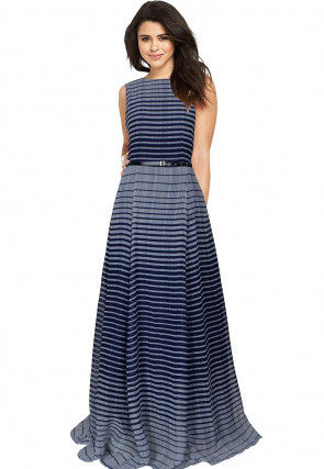 Stripe Printed Georgette Gown in Grey and Blue