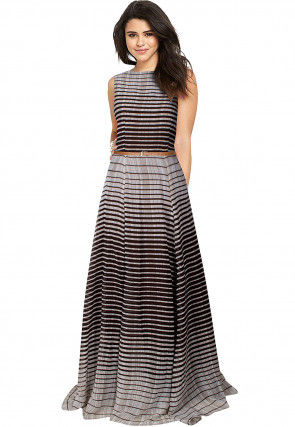 Stripe Printed Georgette Gown in Grey and Brown