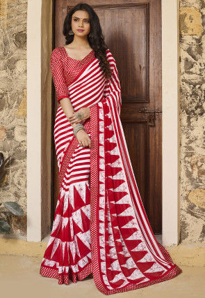 Stripe Printed Georgette Saree in Red and White
