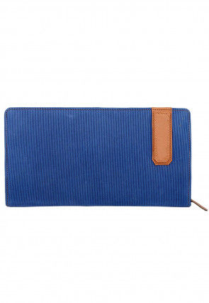Stripe Printed Leather Wallet in Blue
