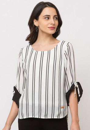 Stripe Printed Polyester Top in White