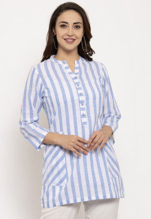 Stripe Printed Pure Cotton Top in White and Blue