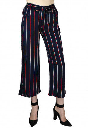 Stripe Printed Rayon Culottes in Navy Blue
