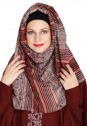 Stripe Printed Viscose Cotton Hijab in Beige and Maroon